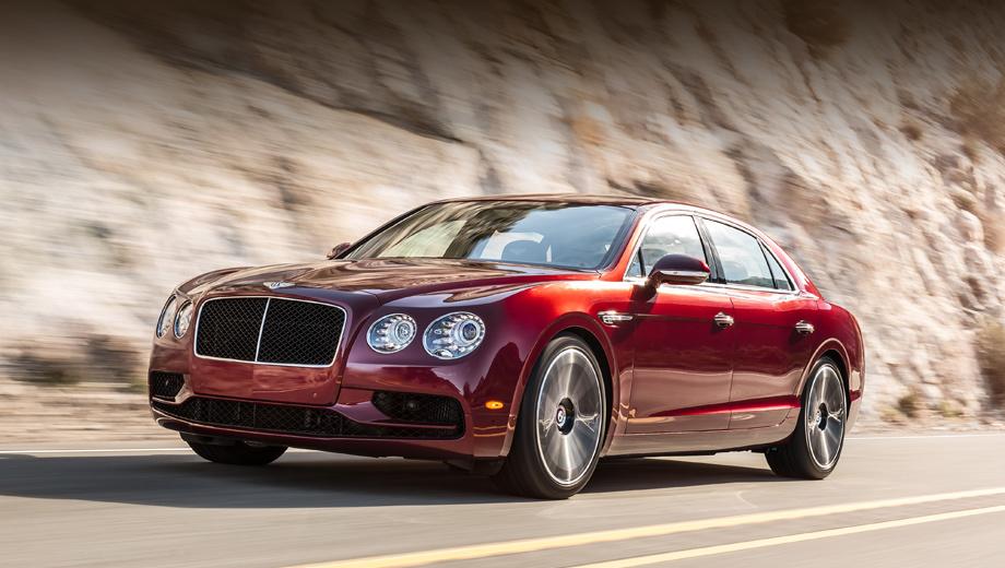 Bentley continental flying spur,Bentley flying spur,Bentley flying spur v8 s. Внешне модификацию V8 S проще всего отличить от обычной V8 по чёрной решётке радиатора и изменённому дизайну переднего бампера с распахнутыми «крыльями» в цвет кузова.