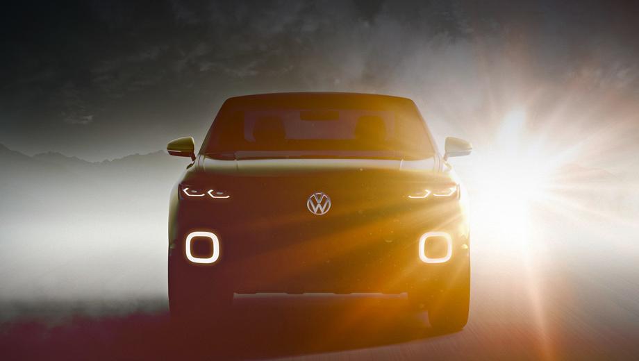 Volkswagen up,Volkswagen t-cross. После того как проект Taigun закрылся, место младшего кроссовера в линейке Фольксвагена вакантно. В эту нишу и метит концепт с выразительными квадратами ходовых огней на светодиодах.