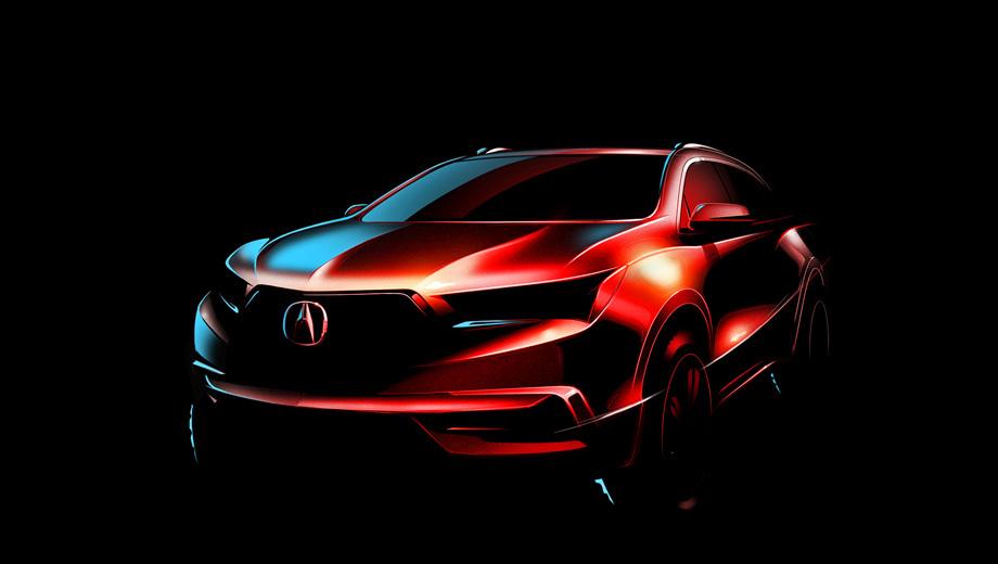 Acura mdx. Японцы обнародовали всего один скетч. Внешностью кроссовера MDX занималась та же калифорнийская студия Акуры, что создавала концепт Precision, однако стилистической преемственности с шоу-каром не наблюдается.