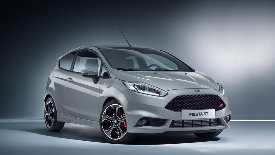 Ford fiesta,Ford fiesta st. Внешне «двухсотая» Fiesta ST отличается от всех остальных специальным цветом кузова Storm Grey, уникальными 17-дюймовыми дисками, красными тормозными суппортами, деталями интерьера и, конечно, шильдиками.