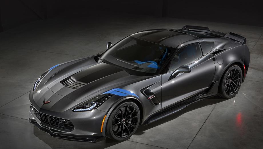 Chevrolet corvette,Chevrolet corvette grand sport. Две диагональные полоски на переднем крыле — подражание окраске Гранд Спортов прошлого (смотрите нашу врезку «История»).