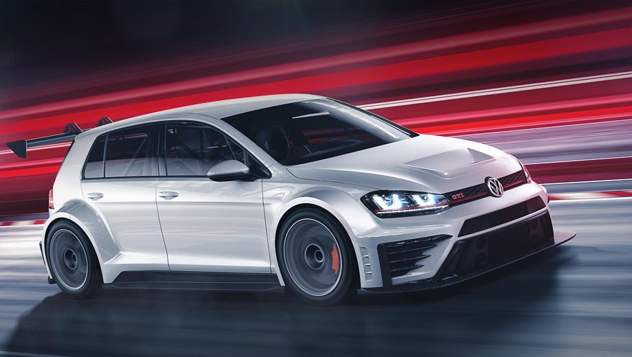 Volkswagen golf,Volkswagen golf gti,Volkswagen golf gti tcr. Гоночный Golf GTI получил новые капот и бамперы, расширенные колёсные арки, аэродинамический обвес, включающий передний сплиттер и заднее крыло, которые изготовлены из углеволокна. Колёса: 18-дюймовые диски и шины Michelin. В салоне виден массивный каркас безопасности.