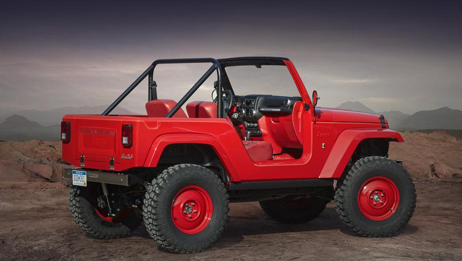 Jeep wrangler,Jeep renegade. Укоротив Jeep Wrangler на 66 см, американцы получили версию Jeep Shortcut, которая напоминает Willys CJ-5/Jeep CJ-5 из 1950-х. У концепта уникальные решётка, капот, бамперы, колёса и оформление интерьера.