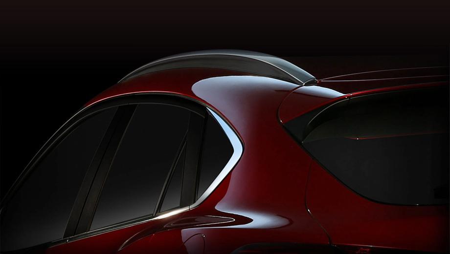 Mazda cx-4. Судя по тизеру, серийный автомобиль сохранит многие черты предвещавшего его шоу-кара. Во всяком случае задняя стойка похожа.