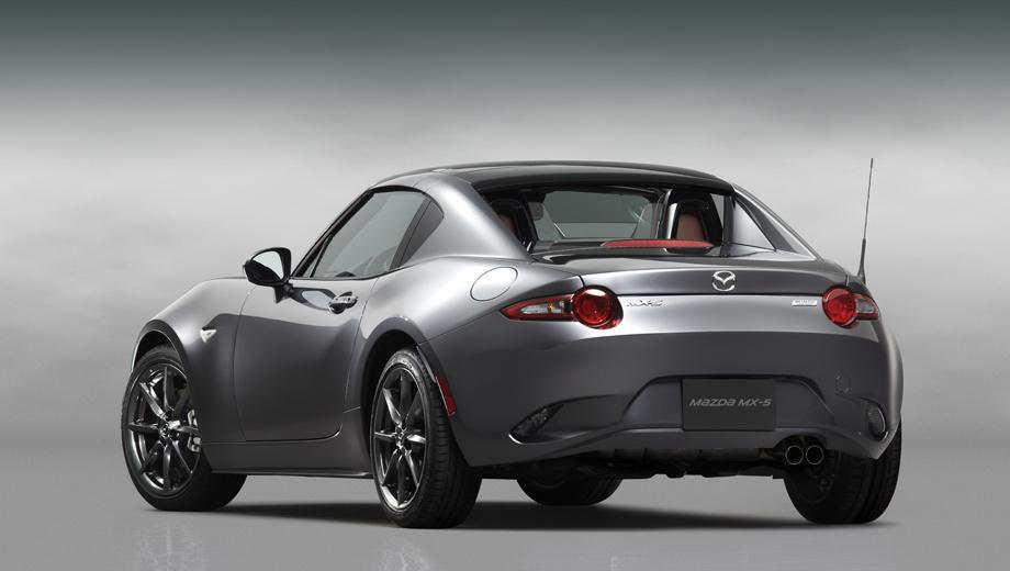 Mazda mx-5,Mazda mx-5 rf. Сильно наклонённые задние стойки позволили компании назвать новую версию родстера фастбеком, хотя технически это не вполне корректно. Основные размеры не изменились, разве что высота выросла на 5 мм (1245 мм).