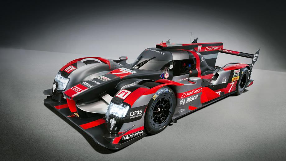 Audi r18. Длина — 4650 мм, ширина — 1900, высота — 1050 мм. Снаряжённая масса составляет 875 кг, снижать её нельзя — этого минимума требуют правила FIA в классе LMP1-H.