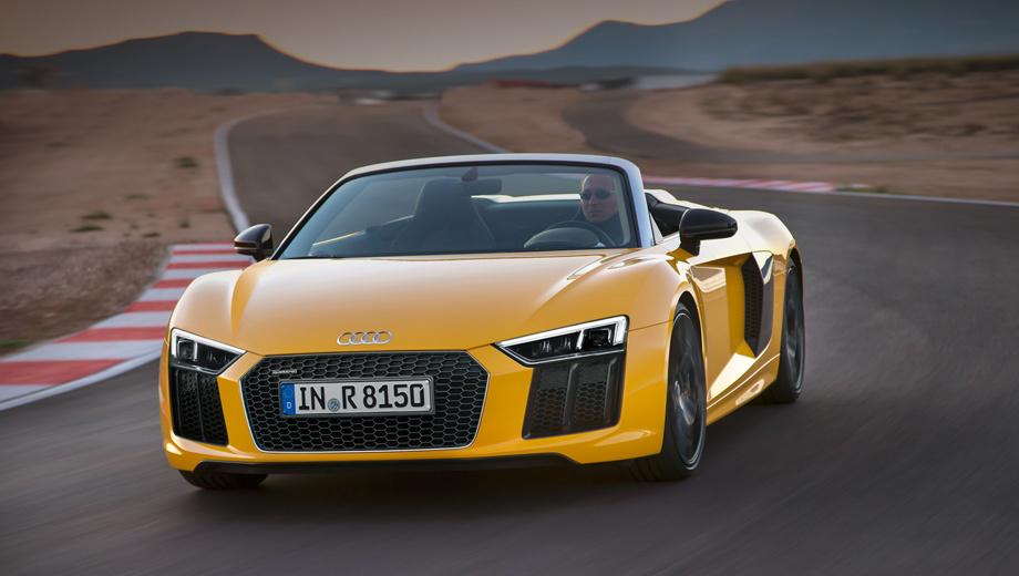Audi r8,Audi r8 spyder. Силовой каркас Audi Space Frame на 80% состоит из алюминия и весит всего 208 кг. При этом жёсткость на кручение на 50% больше, чем в прошлом поколении.
