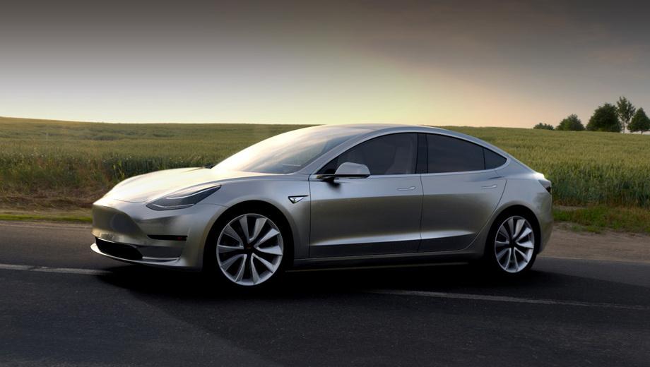 Tesla model 3. Полных характеристик фирма не привела, но известно, что по размерам новичок попадает в сегмент D. Внешне машина напоминает старшую «эску», но тут нет даже намёка хотя бы на стилизованную решётку радиатора.
