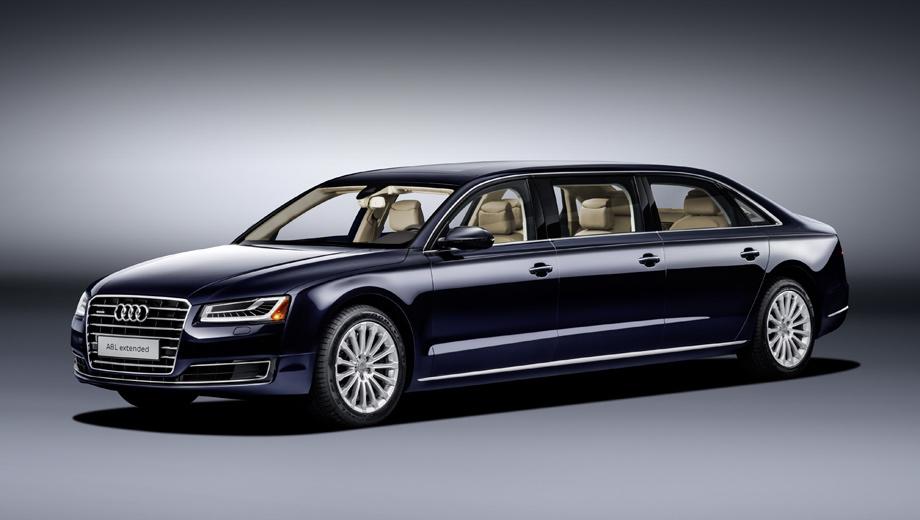 Audi a8,Audi a8 l extended. Передняя и задняя оптика получила боковые габаритные огни, в соответствии с правилами для моделей такой длины. Цвет кузова — Moonlight Blue.