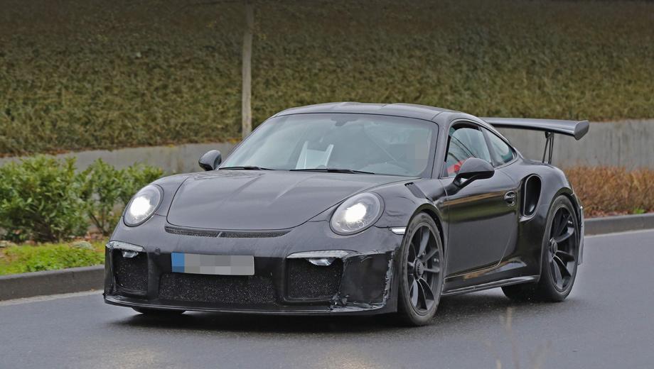 Porsche 911,Porsche 911 gt3 rs 4.2. Автомобиль, на днях сфотографированный на обычных дорогах, обзавёлся новым передним бампером с увеличенными воздухозаборниками.