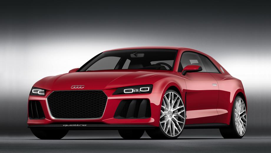 Audi r6. Последний яркий пример концептуальных купе Audi — Sport quattro laserlight (на фото), показанный на выставке электроники CES в 2014 году. Это была эволюция шоу-кара Sport quattro 2013-го, дополненная лазерным головным светом.