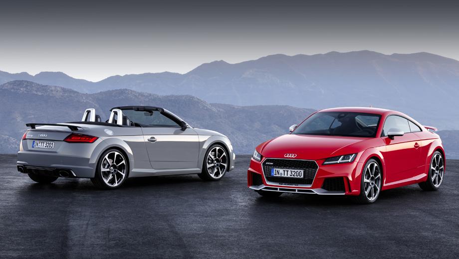 Audi tt rs. Длина TT RS в закрытой и открытой версиях — 4,19 м, ширина — 1,83, высота — 1,34 м. По сравнению с обычными ТТ тут увеличены воздухозаборники, а решётка радиатора получила сотовую структуру.