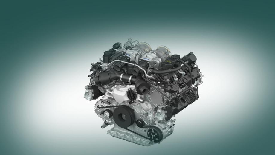 Porsche panamera. Агрегат оборудован двумя турбокомпрессорами с двойной улиткой типа twin-scroll. Есть система отключения половины цилиндров на малых нагрузках. Фирма заявила об улучшении процессов газообмена и сгорания, так что спортивность Porsche совмещена с уменьшенными выбросами CO2.