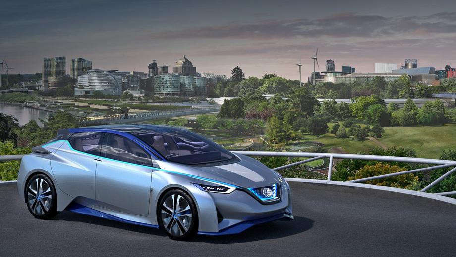 Nissan leaf. Сегодня около 54% населения планеты живёт в городах, а к 2050 году горожан ожидается уже 70%, машин — почти 2,4 млрд. В связи с этим Nissan делает ставку на экологичное электричество и мечтает заменить традиционные «нефтяные» заправки зелёными лужайками. На фото — шоу-кар IDS.