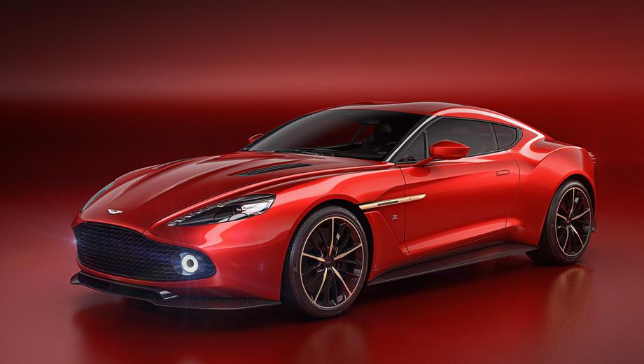 Astonmartin vanquish,Astonmartin vanquish zagato. Известно, что мотор V12 6.0 купе Aston Martin Vanquish Zagato выдаёт 600 сил, и концепт наверняка легче донора. Напомним, что исходник Aston Martin Vanquish весит 1739 кг, до сотни разгоняется за 3,8 с, а его максимальная скорость достигает 324 км/ч.