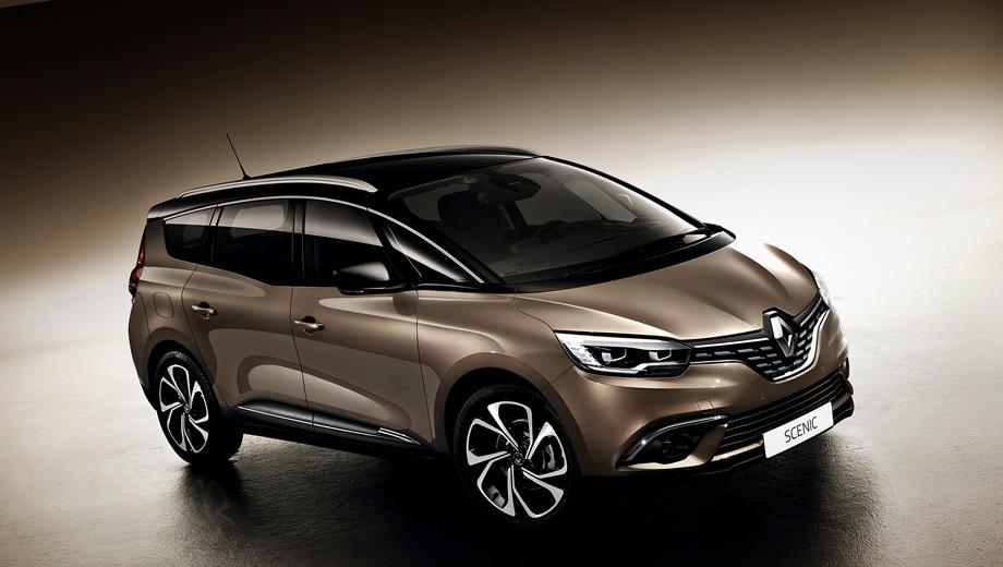 Renault scenic,Renault grand scenic. По сравнению с предшественником новый Grand Scenic стал на 75 мм длиннее (4630), на 20 шире (1860), на 15 выше (1660), колёсная база удлинилась на 35 (2800), клиренс увеличился на 30 (160 мм). Багажник пятиместной вариации прибавил 40 л (718).