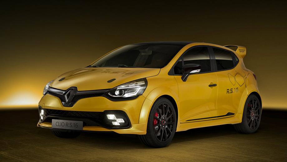 Renault clio,Renault clio rs. Впервые Clio RS 16 покажут публике в рамках гоночного уикенда Формулы-1 в Монако (окрас и название, к слову, заимствованы именно у формульной машины Renault), а затем привезут на смотрины в Гудвуд.