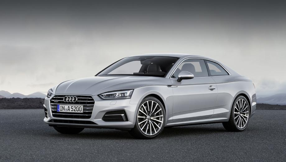 Audi a5,Audi s5. Фары оказались более сдержанными по дизайну, без затейливого (и спорного) зигзага по нижней кромке, а вот боковины куда выразительнее, чем у четырёхдверной родственницы А4. Длина A5 Coupe равна 4,67 м, на четыре сантиметра больше, чем у прежнего поколения.