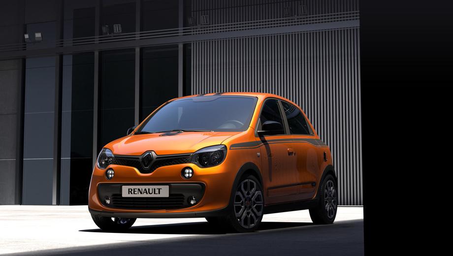 Renault twingo,Renault twingo gt. Во внешности серийной машины дизайнеры опирались на опыт с концептом Twin'Run, но по начинке между ними — пропасть. У Twingo GT будет четыре цвета кузова на выбор — Lunaire Grey, Profond Black, Glacier White и новый Piment Orange.