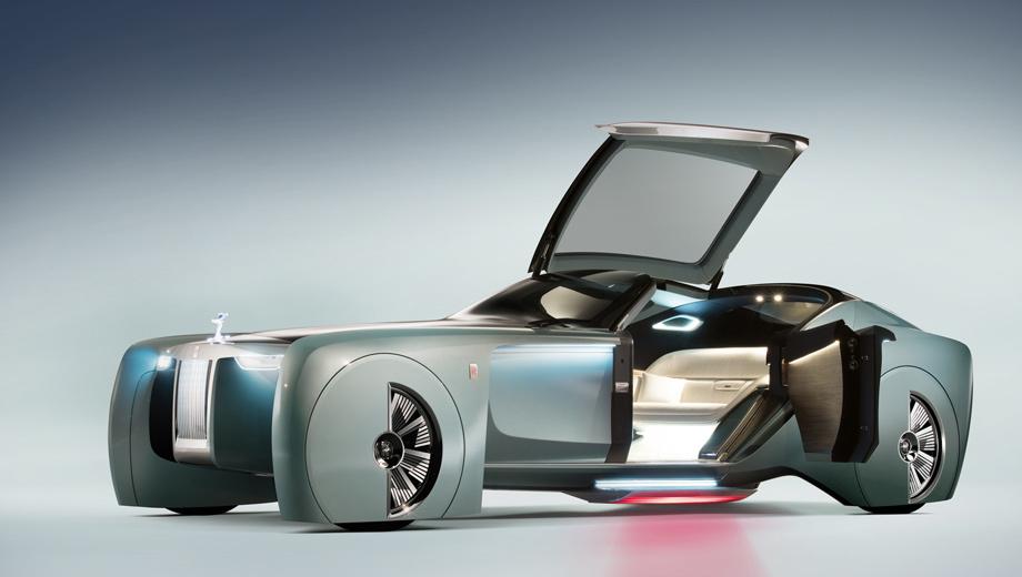 Rollsroyce vision next 100. Похоже, за основу дизайнеры взяли длиннобазный Phantom. От носа до хвоста концепт насчитывает 5,9 метра, ширина — 1,6. На картинке видна проецируемая красная дорожка, которая «освещает путь в будущее роскоши». Диаметр колёс — 28 дюймов.