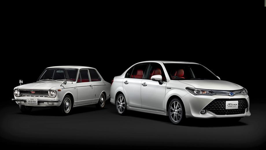 Toyota corolla,Toyota axio. «Первая» Corolla (индекс E10) образца 1966 года (на фото слева) была заднеприводной, а оснащалась бензиновыми «четвёрками» 1.1 (60–73 л.с.), 1.2 (65–78), четырёхступенчатой «механикой» или двухдиапазонным «автоматом». Наряду с седаном существовали купе и двухдверный универсал.