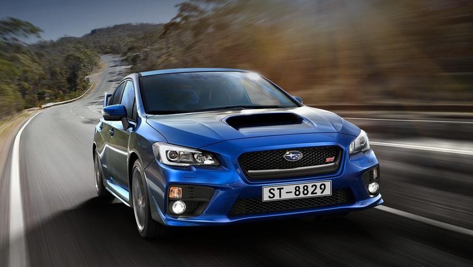 Subaru wrx sti. Добавлены новые цвета окраски кузова — синий Lapis Blue Pearl и красный Pure Red.