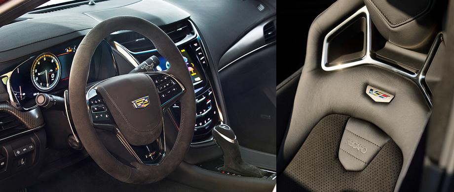 Обновлённая мультимедийная система Cadillac CUE поддерживает Apple CarPlay и Android Auto. Спортивные передние сиденья Recaro с 16 регулировками — опция по цене в 150 тысяч рублей.