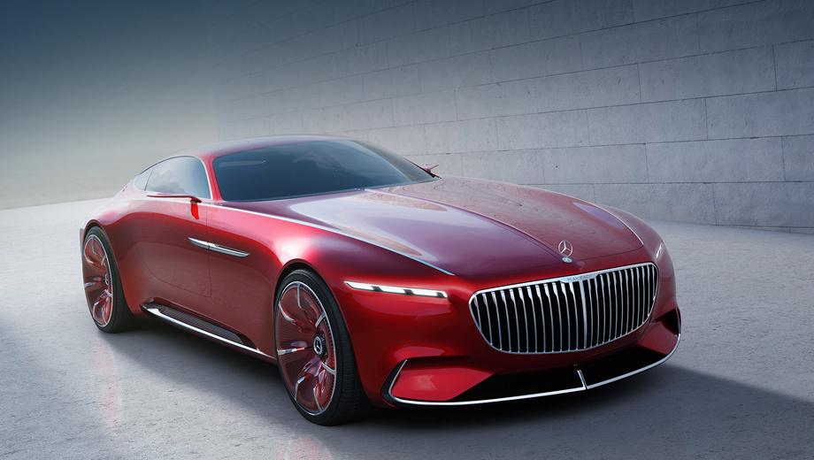 Mercedes -maybach,Mercedes vision -maybach 6. По замыслу дизайнеров, решётка радиатора с тонкими вертикальными ламелями должна напоминать благородный костюм в тонкую полоску.