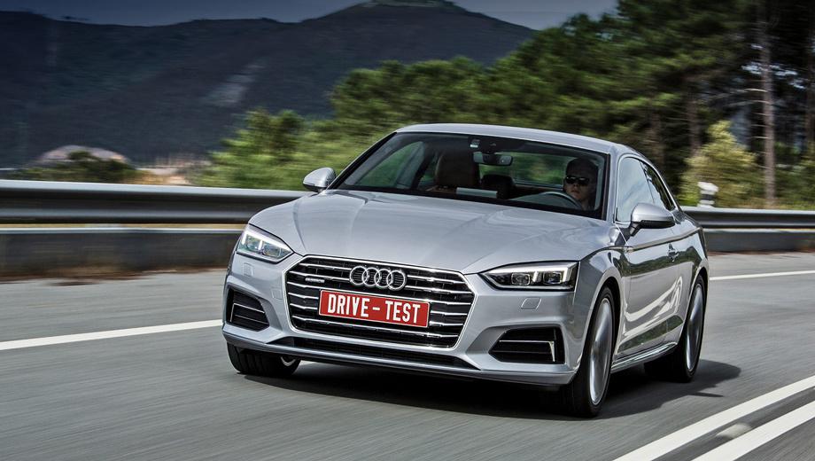 Audi a5. Продажи Audi А5 второго поколения начнутся у нас в ноябре. Рублёвые цены пока не озвучены, но купе не бывать дешевле A4. По сравнению с «четвёркой» А5 короче, колёсная база меньше, но колея спереди и сзади — шире.