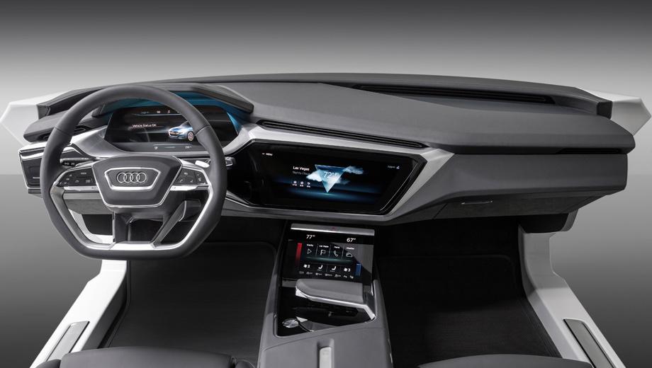 Audi a8. По дизайну мультимедийная система «а-восьмой» будет напоминать ту, что была установлена на концепте Audi e-tron quattro, — с виртуальной приборкой, центральным экраном и дополнительным, внизу консоли.