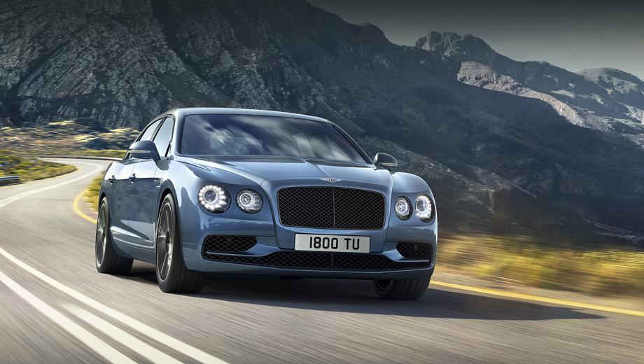 Bentley continental flying spur,Bentley flying spur w12 s,Bentley flying spur. От обычных седанов Flying Spur оспортивленный вариант отличается бампером (он с «крыльями», как у V8 S) и чёрными акцентами (решётка радиатора, диски, диффузор). Окантовки фар и решётки — тоже чёрные.