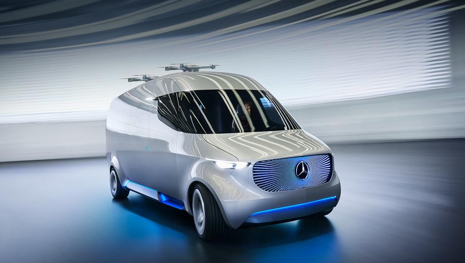 Mercedes vision van. Как и у концепта Vision Tokyo, у этого автомобиля большое лобовое стекло — всё ради лучшей обзорности.
