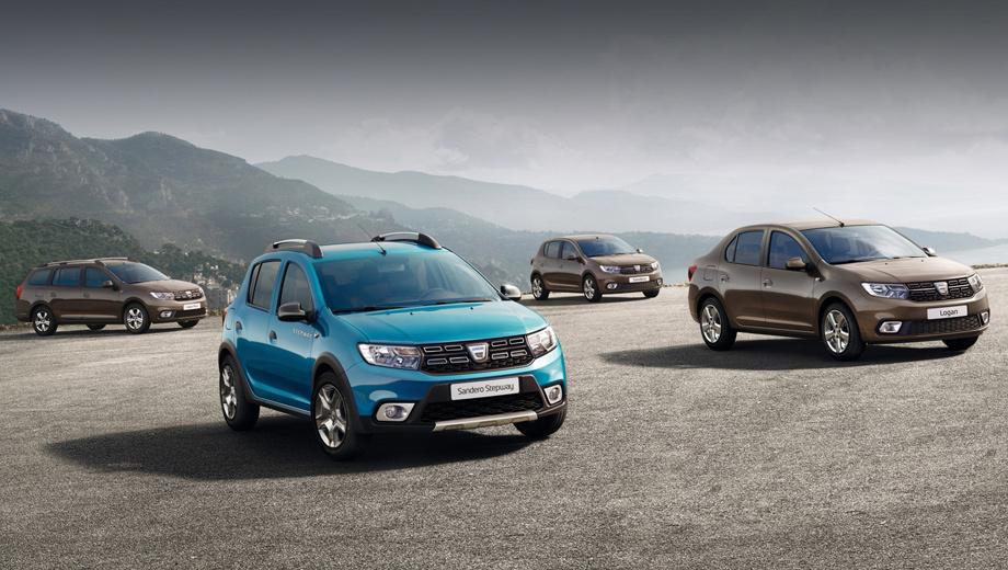 Dacia logan,Dacia sandero,Dacia sandero stepway,Dacia logan mcv,Renault logan,Renault sandero,Renault sandero stepway,Renault logan mcv. Всё семейство Логана и его производных на данный момент представлено лишь на одном официальном снимке.