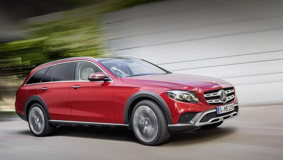 Mercedes e,Mercedes e all-terrain. Автомобиль займёт нишу между обычным универсалом Е-класса и кроссовером GLE. Модель All-Terrain можно опознать по решётке радиатора, модернизированным бамперам и обвесу кузова из чёрного пластика.