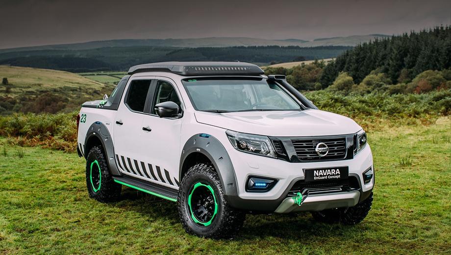 Nissan navara,Nissan concept. На порогах и колёсных дисках — зелёное флуоресцентное покрытие. Пикап оснащён проблесковыми маячками.