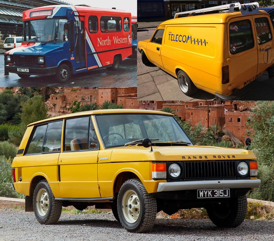 Передние квадратные фары разработчики взяли у фургона Freight Rover (вверху слева), фонари — у «каблучка» Austin Maestro van.