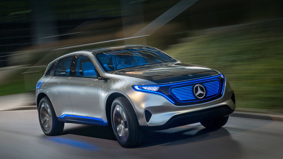 Mercedes eq,Mercedes concept. По своим габаритным размерам и облику парижский концепт напоминает серийный кроссовер Mercedes GLC.