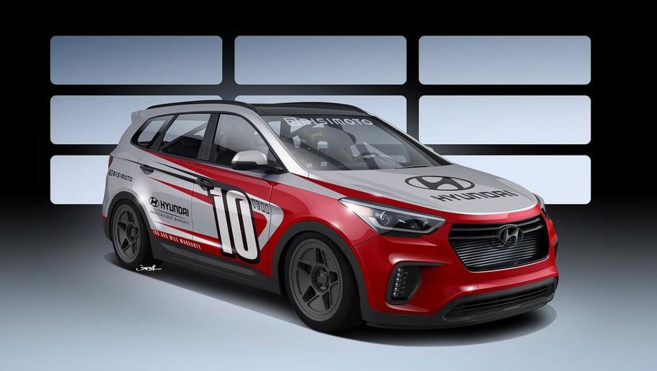 Hyundai santa fe. Пока есть только одна фотография модели. Автомобиль получил двухцветный окрас кузова и оригинальные по дизайну колёсные диски.