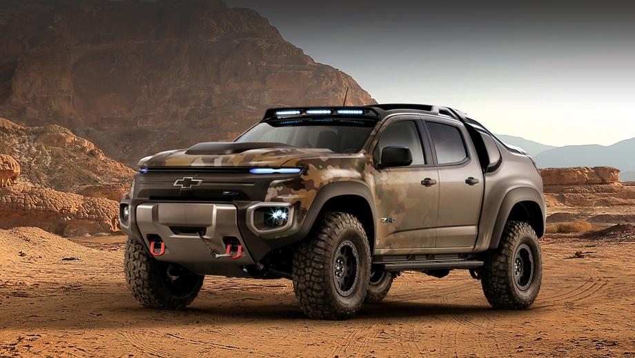 Chevrolet colorado zh2. Специальная армейская модель Colorado крупнее своего простого собрата: в высоту достигает 1,98 м, в ширину — более 2,13 м. Длину производитель не указал, но пояснил, что исходная платформа была растянута.