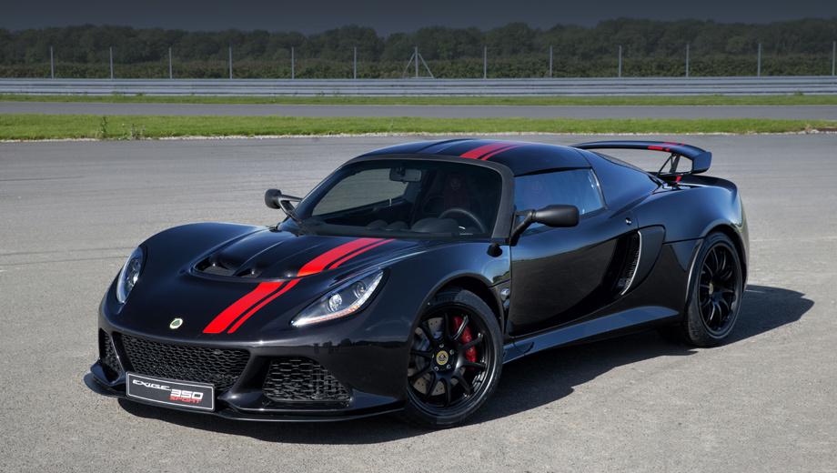 Lotus exige,Lotus exige 350 special edition. Юбилейная модель доступна в цветах Essex Blue, Old English White, Dark Metallic Grey и Motorsport Black. Ей положены контрастные полосы, красные тормозные суппорты AP Racing и несколько чёрных деталей (от сплиттера и колёс до задней панели кузова).