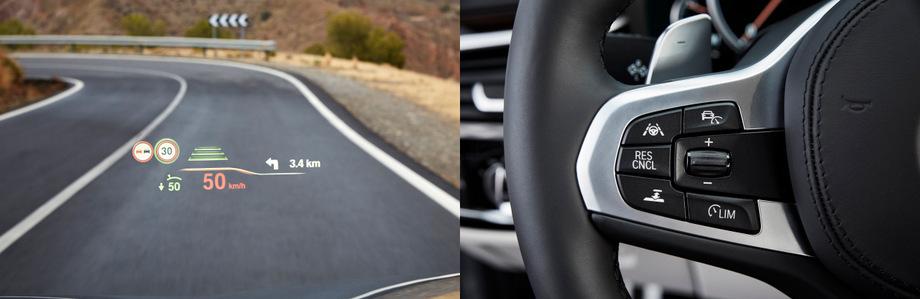 Седан предупреждает о транспорте, движущемся в поперечном направлении, преимущественном проезде и опасных участках (данные об авариях, тумане, дожде, гололедице, обнаруженных одними BMW, через фирменный сервер идут на другие).