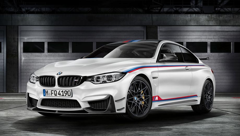 Bmw m4. Чтобы двухдверка походила на боевую DTM-машину, её решено окрашивать только в белый колер Alpine White с цветными вставками, напоминающими ливрею гоночных BMW. Оптимальный контакт с дорогой обеспечивают шины Michelin Pilot Sport Cup 2 размерности 265/35 R19 спереди и 285/30 R20 сзади.