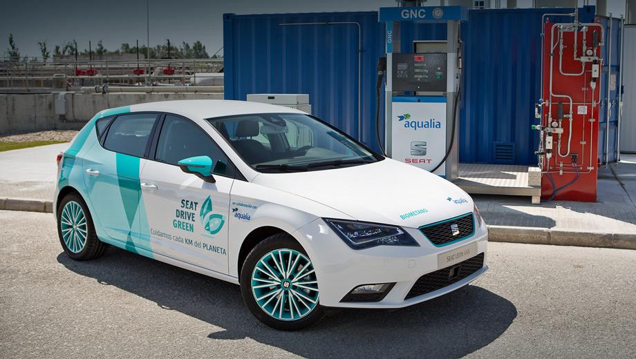 Seat leon. Турбомотор 1.4 (110 л.с., 200 Н•м) питается бензином (50 л) и сжатым природным газом (15 кг), хранящимся в двух баллонах под днищем. Без дозаправки «зелёный» Leon способен пробежать 1300 км.