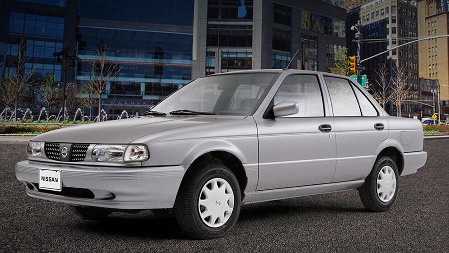 Nissan tsuru,Nissan sentra. Длина — 4325 мм, ширина — 1650, высота — 1381, колёсная база — 2430 мм. Объём багажника — 338 л. Модель оснащается только бензиновой «четвёркой» 1.6 (105 л.с.) и пятиступенчатой «механикой».