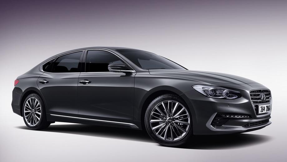 Hyundai azera,Hyundai grandeur. Передняя часть седана Grandeur выполнена в стилистике модели Genesis G90.