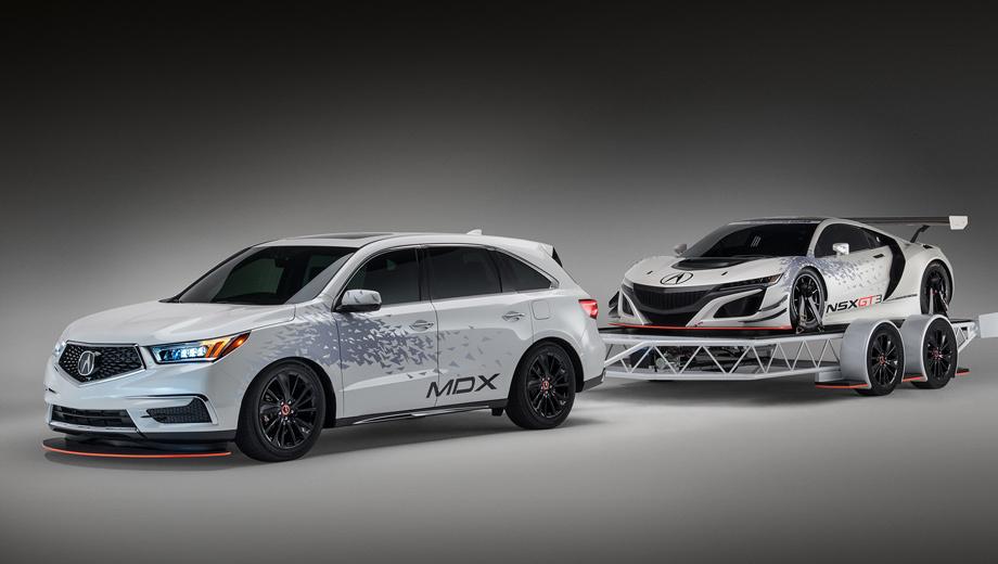 Acura mdx,Acura nsx. По идее, перед нами оптимальный набор фаната Акуры для трек-дня. Прицепил к повседневной машине трейлер, загрузил гоночный снаряд, приехал на автодром и всех удивил своим трио в едином стиле. «Мы хотим показать, как наши гражданские модели могут включиться в автоспортивную программу GT3», — отметил топ-менеджер Джон Икеда.