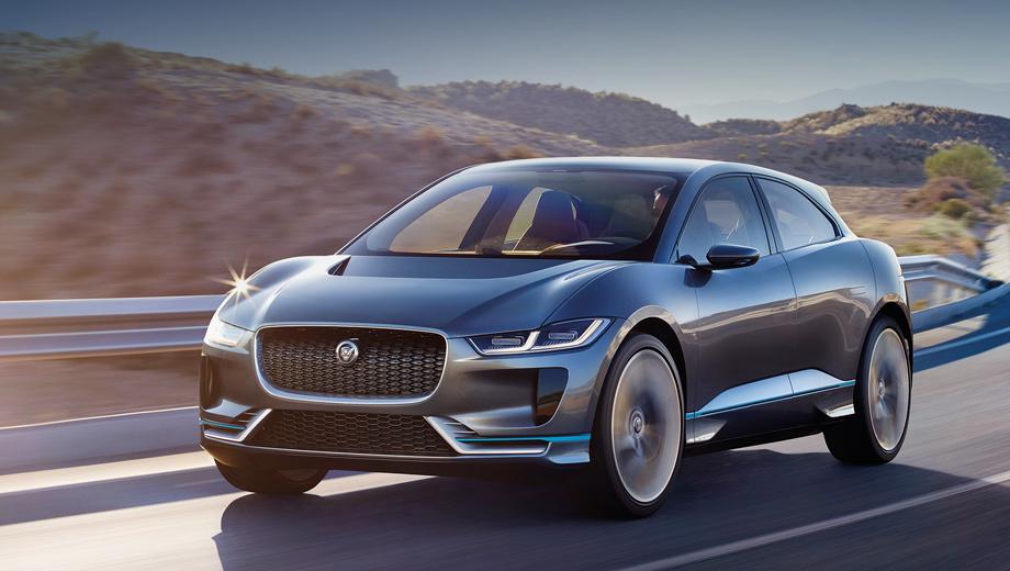 Jaguar i-pace. Электромобиль встанет на конвейер в 2018 году, говорят, в почти неизменном виде. Не удивлюсь, если останутся даже 23-дюймовые колеса: уже сейчас на F-Pace можно заказать 22-дюймовые.