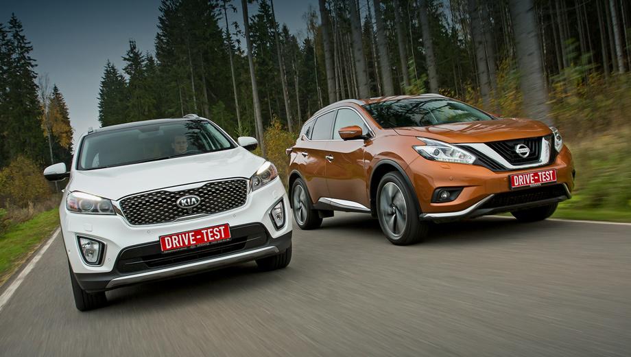 Kia sorento,Nissan murano. Новый Nissan Murano бывает переднеприводным, гибридным, но чаще полноприводным с бензиновой «шестёркой» 3.5 — от 2 460 000 до 3 265 000 рублей. Sorento Prime даже с полным приводом дешевле: 2 249 900—2 659 900 рублей. Причём Kia бывает с дизелем.