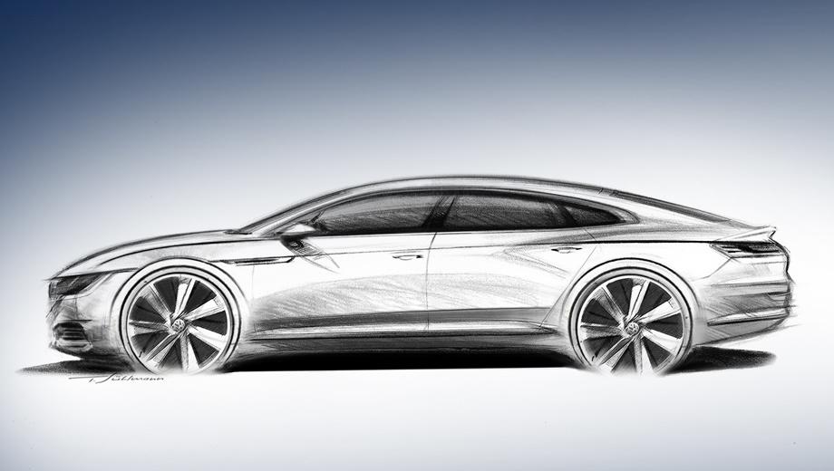 Volkswagen arteon. Одно из ключевых новшеств — смена кузова с седана на лифтбек. Пятая дверца должна открыть удобный доступ в крупный багажный отсек.