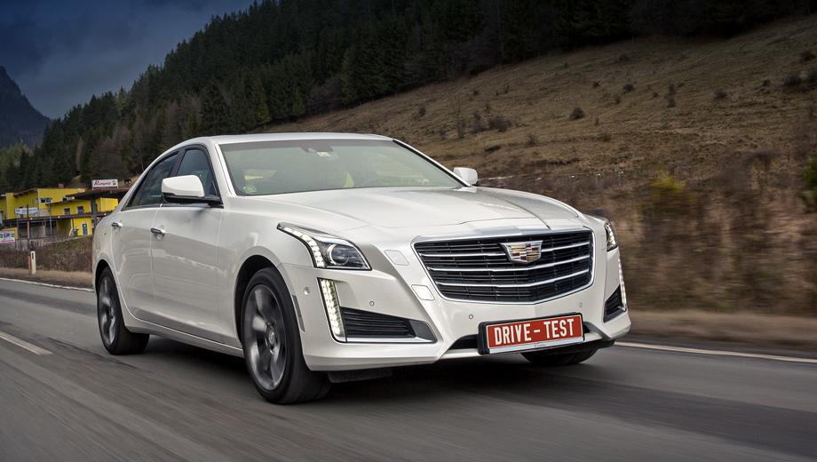 Cadillac cts. Обновлённый заднеприводный CTS с «турбочетвёркой» 2.0 (240 л.с.) и восьмиступенчатым «автоматом» стоит от 2 790 000 рублей — на 100 тысяч дороже прежнего. Полноприводный с тем же мотором — 2 990 000−3 590 000. С «атмосферником» V6 3.6 (341 л.с.) — 3 790 000.